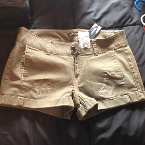 Express Olive Distressed Shorts